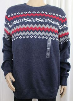 Men's Crewneck Blue Ski Sweater Geometric Pattern XXL Sonoma + Lifestyle #Sonoma #Crewneck