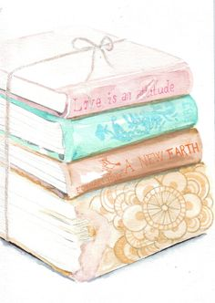 Original watercolor painting vintage books coral by HelgaMcL http://etsy.me/SJi76e $20.00