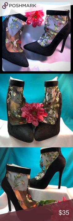 """SALE!! Chloe & Chase Betsy Embroidered  Suede Pump NWOT Chloe and Chase Betsy Embroidered Mesh Suede Pump. Black Suede with embroidered mesh detail in gorgeous floral pattern. 4.5"""" heels. Never worn. On trend! Chase and Chloe Shoes Heels"""