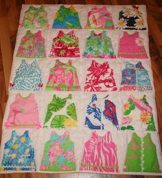 Pick 20 of your favorite Lilly Pulitzer fabrics, cut them out in the shape of the classic Lilly shift dress, then decorate them with ric rac, ribbon, or lace accents and quilt around each one. Then you will have a Lilly shift blanket! Would be cute for a girl