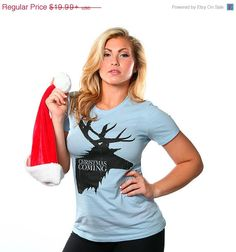 ON SALE NOW Christmas Is Coming T-Shirt Funny Geek by BigtimeTeez in Maroon or hearther gray XLarge