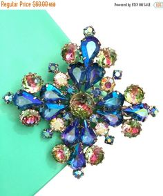 Rhinestone Maltese Cross Brooch, Blue and Golden Aurora Borealis, Accented with Givre Art Glass, Rhodium Plated