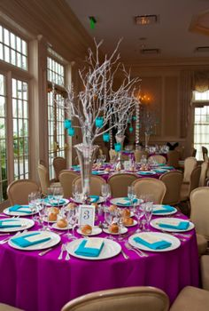 @aloftmtlaurel colors! #tabledecor #aloftevents | Segelman decor - from mitzvah market.com
