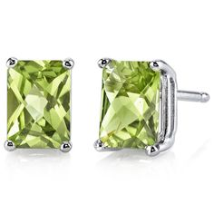 Peora.com - 14 kt White Gold Radiant Cut 2.00 ct Peridot Earrings E18582, $99.99 (http://www.peora.com/14-kt-white-gold-radiant-cut-2-00-ct-peridot-earrings-e18582/)