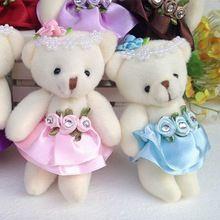 10 pçs/lote 12 CM bonito meninas boneca de brinquedo de pelúcia material e urso de pelúcia mini bouquets para promoção presente(China (Mainland))