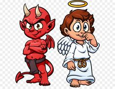Buy Angel and Devil by memoangeles on GraphicRiver. Cartoon angel and devil. Vector clip art illustration with simple gradients. Each on a separate layer. Angel Devil Tattoo, Demon Tattoo, Angel And Devil, Engel Illustration, Caricature, Angel Y Diablo, Angel Cartoon, Angel Vector, Angel Clipart