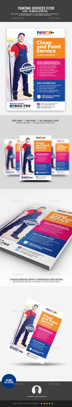 Paint Service and maintenance Flyer #color #putty  • Download here → https://graphicriver.net/item/paint-service-and-maintenance-flyer/21287399?ref=pxcr