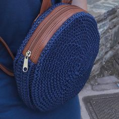 Small Round Bag Backpack with synthetic leather for straps . Extra linen inside with pocket and zipper. It is made with the crochet technique with macrame durable synthetic yarn. Perfect elegant gift for her. Round Bag, Backpack Bags, Saddle Bags, Gifts For Her, Backpacks, Elegant, Knitting, Crochet, Leather