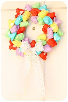 Peep Wreath by bumblev: We are Peeps! #Wreath #Peeps #Bumblev