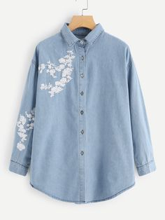 Shop Sequin Decoration Denim Shirt at ROMWE, discover more fashion styles online. Denim Top, Denim Shirt, Casual Tops For Women, Blouses For Women, Designer Kurtis, Stylish Work Outfits, Style Casual, Embroidered Clothes, Embroidery Fashion