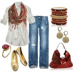 White Shirt and Jeansm, cinnamon accessories