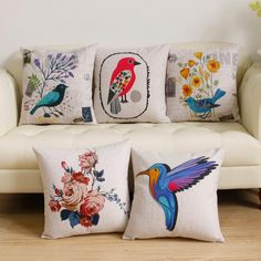 Flower bird pillow Pastoral style linen cushions for couch decoration