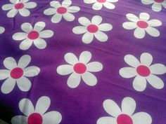 White Daisies Fabric Red Violet Poly Cotton Extra Wide by RaajMa