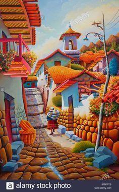 Closeup of Peruvian art in the shops of Miraflores, Lima, Peru, South America Stock Photo South American Art, Native American Art, Mexican Paintings, Peruvian Art, Mexico Art, Cottage Art, Naive Art, Mexican Folk Art, New Art