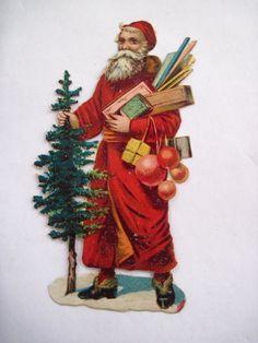 Vintage Victorian Die-Cut Santa w/ Tree and Decorations