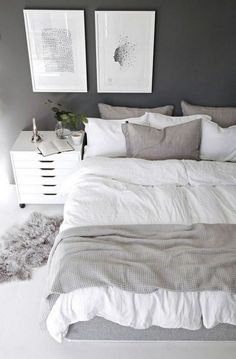 The bedroom is supposed to be a comfortable place to take a rest. A small bedroom is not an obstacle to create an attractive bedroom. Scandinavian bedroom design would be very suitable to be applied to bedroom designs, especially for… Continue Reading → Simple Bedroom Decor, Home Decor Bedroom, Decor Room, Bedroom Art, Trendy Bedroom, Comfy Bedroom, White Bedroom Walls, Bedroom Ideas Grey, Simple Bedrooms