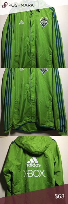Adidas Seattle Sounders Men's Soccer Rain Jacket Like new, I only wore it three or four times. Adidas Jackets & Coats Raincoats
