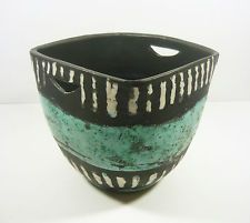 "GORKA LIVIA, TURQUOISE & BLACK RETRO POT WITH STRIPES 6.4"", 1950'S ART POTTERY !"