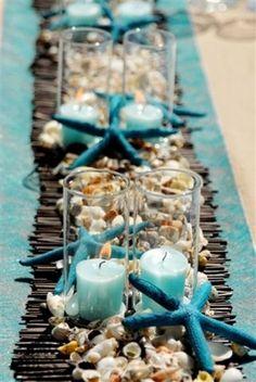 Sky blue beach wedding centerpiece for 2014, finger starfish beach wedding table decor www.dreamyweddingideas.com