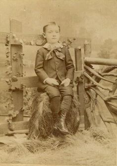Young boy sitting, post mortem