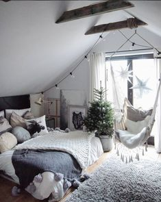 instagram bloggers white bedroom with white hammock chair