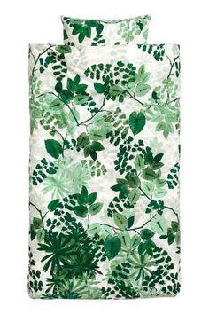 Leaf-print duvet cover set
