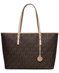 c8794ea7d80e5a Shop for Michael Kors Jet Set Travel Medium Brown Signature Top Zip  Multifunction Tote Bag. Get free delivery at Overstock - Your Online  Handbags Outlet ...