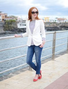 classic casual outfit featuring blue jeans, white blazer and stripe top (I would wear a different colored blazer- no white clothes for me.)