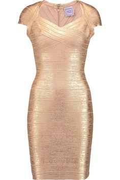 HERVE LEGER Tejana metallic bandage mini dress. #herveleger #cloth #dress