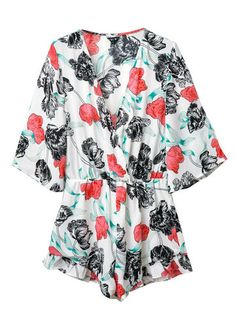 Women Sexy Floral Print V-neck Pleated Loose Half Sleeve Jumpsuit