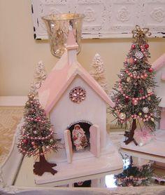 Pink Christmas church   etsy at IllusiveSwan