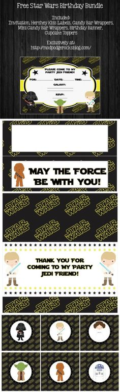 Get a FREE Star Wars birthday printable pack! This includes invitations, wrappers, banner, and more - twelve pages of fun. May the party be with you! via @modpodgerocks