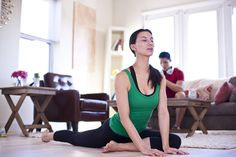 Getting into the flow of a home yoga practice.