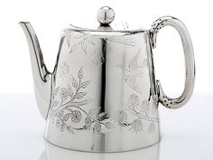 Antique silver English teapot.