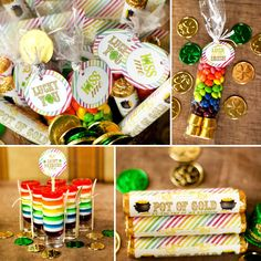 St. Patrick's Day - Free Party Printables  -   1. Rollo Wrapper  2. Fold Over Bag Labels   3. Cupcake Toppers   4. Mini Water Bottle Labels