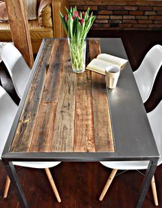 Hand Crafted 6 seater farmhouse style Reclaimed Wood & Steel