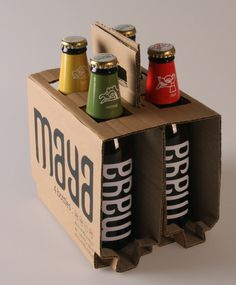 Maya Beer Packaging - love the typography used for Brew on the cardboard. Another simple packaging nothing to take away from the beverage. Beverage Packaging, Bottle Packaging, Brand Packaging, Simple Packaging, Coffee Packaging, Food Packaging, Kombucha, Craft Beer Labels, Wine Labels