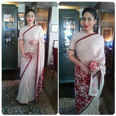 Kareena Kapoor in Sabyasachi Florals also make for a vintage look. Kareena Kapoor oozes with elegance in this understated neutral coloured saree with berry floral embroidery on the pallu. What a lovely look for a morning wedding ceremony! Sabyasachi bridal - Indian bride - Indian designer - Indian couture #thecrimsonbride