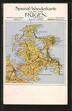 carte postale ancienne: CPA Bergen, Spezial-Wanderkarte der Insel Rügen avec Greifswalder Bodden, Tromper Wiek & Hiddensee