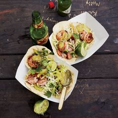Shrimp Tacos with Tomatillo Sauce | Chef Tim Byres's shrimp tacos are delicious with this tangy salsa, but the surprise here is the crunchy celery salad on top.