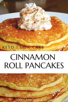 Easy Keto Cinnamon Roll Pancakes — LOW CARB QUICK Missing those rich, light and fluffy pancakes on your keto diet? Look no further. Informations About Easy Keto Cinnamon Low Carb Desserts, Low Carb Recipes, Cheap Recipes, Health Recipes, Quick Recipes, Simple Keto Desserts, Coconut Flour Recipes Keto, Keto Pancakes Coconut Flour, Health Tips