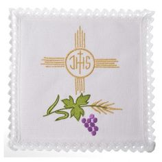 Altar linens set, 100% linen, IHS and grapes
