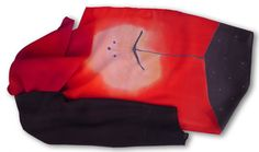 Dandelion silk scarf. Red silk scarf with dandelions. Coral red with perfectly fitting black, which lowers the colour number used to three. Red black and bit redded white used for dandelions. Simpleand elegant. Made by SilkAgathe.