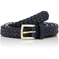 Barneys New York Men's Woven Leather Belt (215525 IQD) ❤ liked on Polyvore featuring men's fashion, men's accessories, men's belts, navy, mens navy leather belt, mens navy blue belt, mens woven belts, mens genuine leather belts and mens braided leather belt