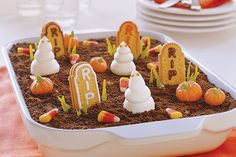 <b>Also Known As: GHOSTS IN THE GRAVEYARD</b><br/> No need to fear this graveyard: It's made with chocolate pudding and crushed cookies! See it all come together in this super-quick video.