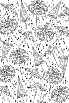 umbrellas adult coloring page free printable page