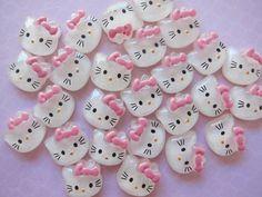 10 Resin Glitter Cat Cabochons Flatbacks Pink Bow by keijik
