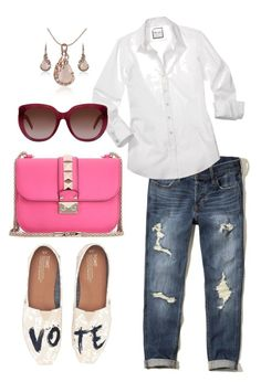 """""""Casual Denim"""" by ojomrs on Polyvore featuring TOMS, Hollister Co., Valentino and Yves Saint Laurent"""