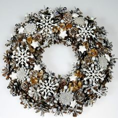 Items similar to Gray-White Wreath, Natural Wreath, Christmas Wreath, … Diy Spring Wreath, Diy Wreath, Christmas Wreaths, Christmas Decorations, Xmas, Winter Wreaths, Christmas Ornaments, Front Door Decor, Wreaths For Front Door
