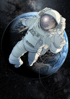 An A3 print of an astronaut against the backdrop of earth, on heavyweight matt paper in very high quality. Please select whether you want the print signed or unsigned when you add it to your cart.